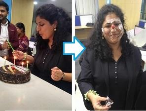 お誕生日のお祝いだって全力!必ず主役の顔面はケーキまみれになってしまう。