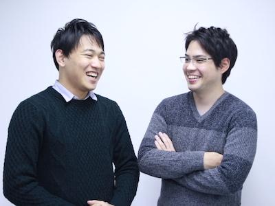 数々の事業立ち上げに成功しているインターン生(左)と代表の山本(右)です。